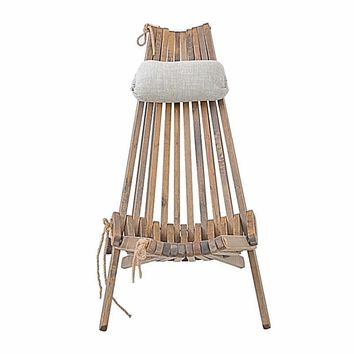 Solid Ceder Wood Folding Chair & Cushion For Lounge Indoor Outdoor Furniture
