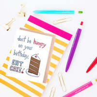 Funny Birthday Card - Don't Be Hangry on Your Birthday by Yellow Daisy Paper Co.