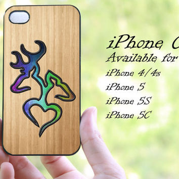 colorful browning deer love wood design iphone case for iphone 4 case, iphone 4s case,iphone 5 case, iphone 5s case, iphone 5c case