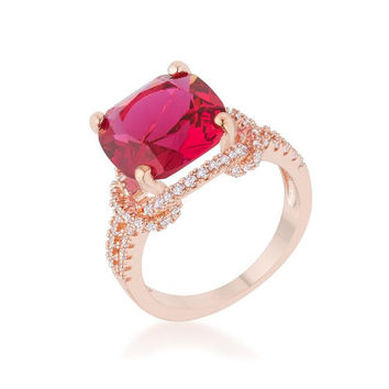 Charlene 6.2ct Ruby Cz Rose Gold Classic Statement Ring, size : 10