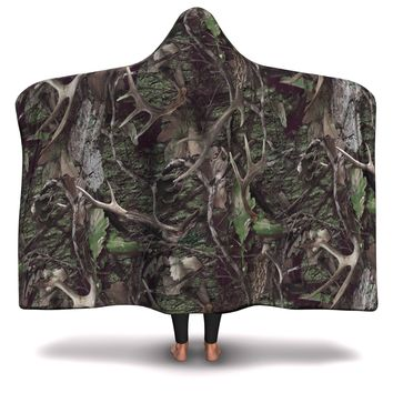Hooded Blanket All-Over 5th  Design Army Hunting