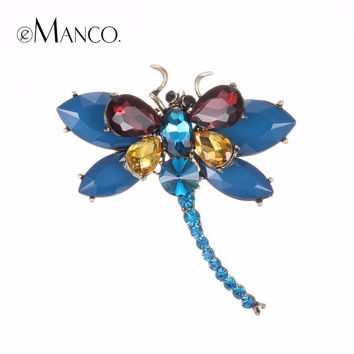 eManco 3 Colors Cute Animal & Insect Dragonfly Brooches Pins for Women Blue Crystal Brooch Clothing Accessories Fashion Jewelry