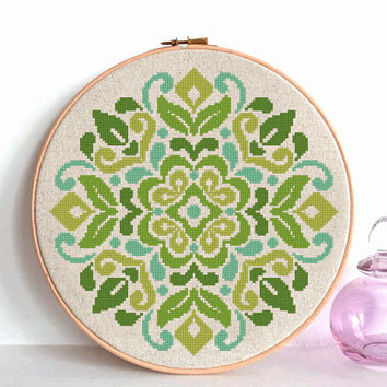 modern cross stitch pattern, flowers ornament, national ornament, flower ornament, geometric pattern, folk art, instant download, PDF