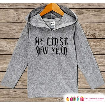 1st New Years Shirts - My First New Year Outfit - Boy or Girl Happy New Years Eve Outfit - Baby, Infant New Year's Eve Party Hoodie Pullover