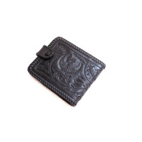 Handmade Black Tooled Leather Wallet