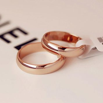 KNOCK High quality Simple Round Men Rings female Rose Gold color wedding rings for women Lover's fashion Jewelry  Gift