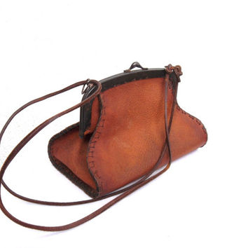 Distressed Leather Edwardian Purse, Art Deco Handbag, Rustic Shoulder Bag, Ancient Purse, Boho Leather Pouch, Framed Leather Coin Purse
