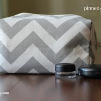 Large Makeup and Cosmetic Bag in Grey Chevron