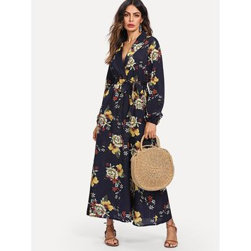Navy Blue Notched Neck Long Sleeve Floral Print Maxi Dress