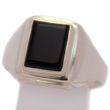 Massive Solid Sterling Silver Men's Black Onyx Ring 925 Hallmark Stylish Impressive Incredible Classic Handmade Handcrafted Size 11.75 US/ X