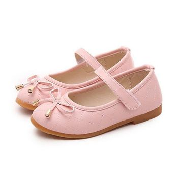 PU Leather Bow Kids Shoes For Girl Princess Party Wedding Dance Baby Girl Shoes For Children Pink Brand Shoes Spring Summer