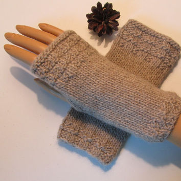 Organic Undyed Baby Alpaca and Merino Wool Fingerless Texting Mittens, Gloves, Natural Color is Latte