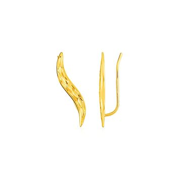 Textured Leaf Climber Earrings in 14K Yellow Gold