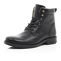 River Island MensBlack leather warm lined boots