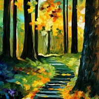 STAIRWAY IN THE OLD PARK — PALETTE KNIFE Oil Painting On Canvas By Leonid Afremov - Size 36x20. use 10% discount coupon - deviantart10off