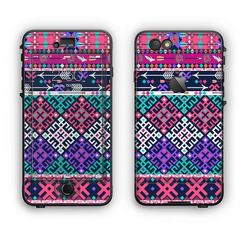 The Pink & Teal Modern Colored Aztec Pattern Apple iPhone 6 Plus LifeProof Nuud Case Skin Set