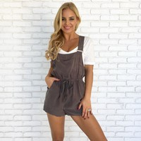 Fig & Olive Romper Overalls in Charcoal