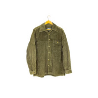 90s NO FEAR thick green corduroy shirt / vintage 1990s long sleeve button down / baggy oversize / grunge / large