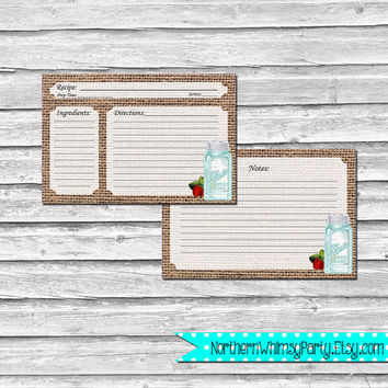 4x6 Recipe Cards – Mason Jar on Rustic Burlap – Printable Baby Shower, Bridal Shower, Hostess, or Housewarming Gift – INSTANT DOWNLOAD