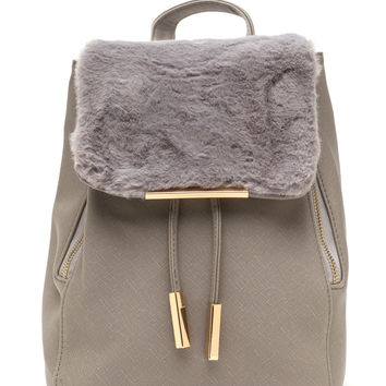 Bag At It Faux Fur Drawstring Backpack