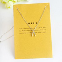 Sweet Wish Dainty Pendant Charm Necklace Silver Tone on Message Card