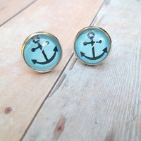 A N C H O R - Turquoise Blue and Black Anchor Nautical Boat Photo Glass Cab Circle Silver Post Earrings