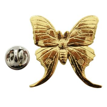 Luna Moth Pin ~ 24K Gold ~ Lapel Pin