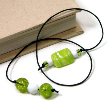 Book Thong Bookmark, Beaded, Book Cord, Book String, Gift under 5, Lime Green. Book Club, Teacher Gift