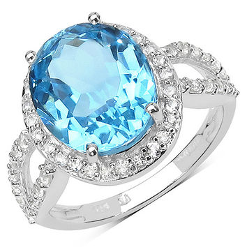 6.78 Carat Swiss Blue And White Topaz Sterling Silver Ring