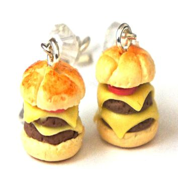 double cheeseburger dangle earrings