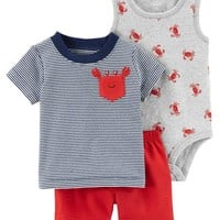 3-Piece Crab Little Short Set