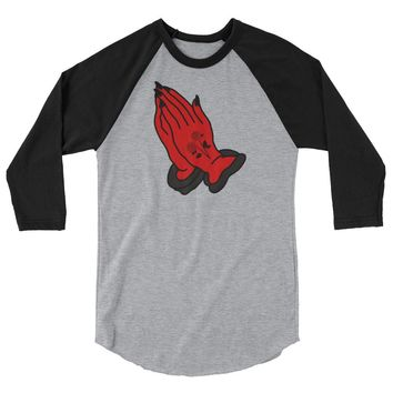 Devil Praying Hands Baseball Tee