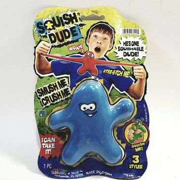 Squish Dude Blue Stretchy Squeezamiley Smiley Face Buddy Elastic Stretch Toy Figure