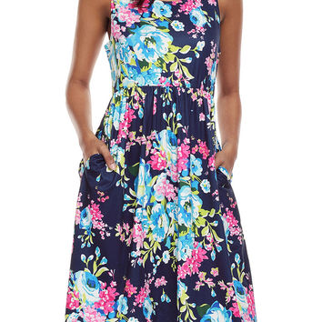 Fall In Love With Floral Print Boho Dress In Navy LAVELIQ