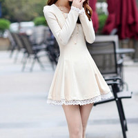 Beige Lace Stitching Skater Dress
