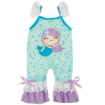 Newborn Fashion Polka Dot Jumpsuit Baby Girl Boys Summer Baby Mermaid Embroidery Romper 0-24M Factory Direct Sale Jumpsuit