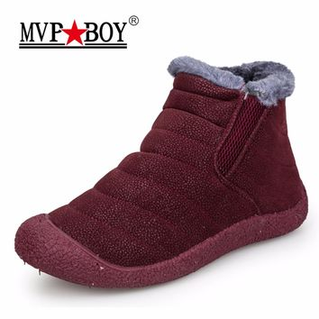MVP BOY Winter Women Boots Slip-On Waterproof Women Snow Boots, Fur Inside Antiskid Bottom Keep Warm Ankle Rain Boots for Women