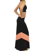 Carolina Sunset II Coral & Black Chevron Maxi Skirt