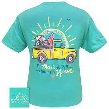 Girlie Girl Originals Preppy There's A Wave Beach Truck T-Shirt