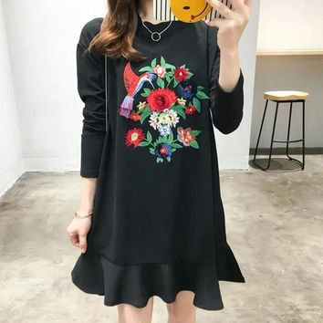 Black Patchwork Embroidery Peplum Long Sleeve Fashion Cotton Mini Dress