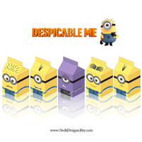A4 Paper, Despicable Me Printable Milk Box Template, DIY, Party Gift Box, Paper Favor Box, Minion, Party Supplies, Instant Download, JPEG