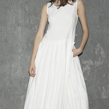 White linen dress maxi dress women dress long prom dress(1308)