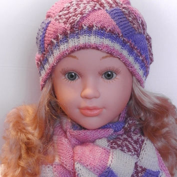 Hand knitted entrelac set of hat and scarf for kids