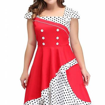 Chicloth Polka Dots Cap Sleeve Cocktail Formal Swing Vintage  Dress