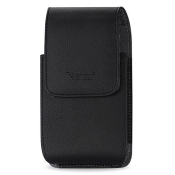 Reiko VERTICAL LEATHER POUCH HTC HD2 T8585 IN BLACK WITH MEGNETIC AND BELT CLIP (5.16X3.04X0.83 INCHES PLUS)