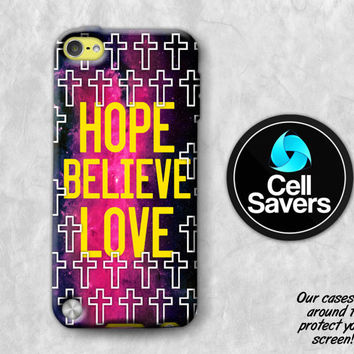 Hope Believe Love iPod 5 Case iPod 6 Case iPod 5th Generation iPod 6th Generation Rubber Case Gen Christian Quote Cross Pattern Space Galaxy