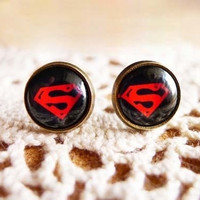 Cute Supermen Sign Stud Earrings = 1946086148