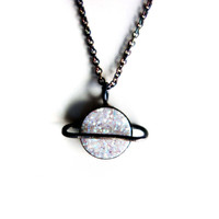 The Cosmos Collection- Oxdized Sterling Silver Saturn Pendant with White Drusy