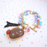 Rilakkuma Brown Dessert Bear Bracelet. Soft Pastel Ice Cream Colours, Eiffel Tower, Pink Glass Heart  Sweet Lolita Bracelet. Ama Lolita