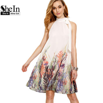 SheIn Casual Dresses For Woman Boho Dress New Summer Style Womens Beige Print Bow High Neck Sleeveless Straight Dress